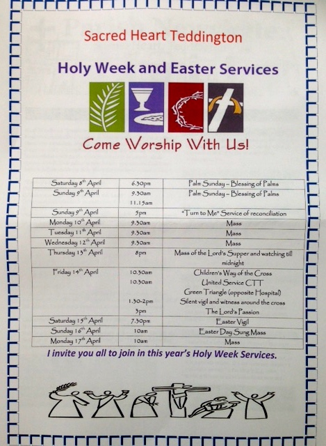 Holy Wee and Easter Services Catholic Church of Sacred Heart Teddingon