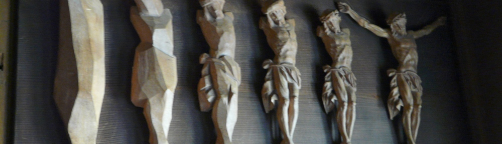 Wood sculpture of Crucified Christ Oberammagau Museum